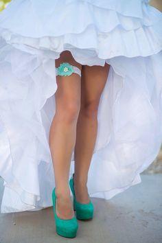 Tiffany Blue Wedding - Sea Foam Wedding Garter Set - Bridal Garter