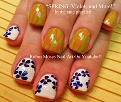 Violets and Pansy Nail Art