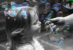 B&W Color bubbles toddler photos, famili, color, art, family photography, kid photography, blowing bubbles, toddler photography, children photography