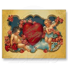 Loves Greeting Vintage Cupid Valentine postcard