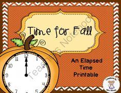 Time for Fall (Elapsed TIme Task Cards)! Enter for your chance to win 1 of 2.  Time for Fall (Elapsed TIme Task Cards) (13 pages) from Creations by Mrs Mouse on TeachersNotebook.com (Ends on on 10-24-2014)  This printable reinforces the concept of elapsed time using the theme of fall and pumpkins using task cards. The child takes a card and answers the question. Then finds the matching pumpkin with the clock that has the right answer. There are different ways of putting together this ...