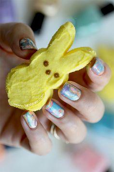 Easter Manicure Tie Dye Water Marbelling Easter Nails Using @Zoya Nail Polish Awaken Spring Nail Polish Collection #nailart