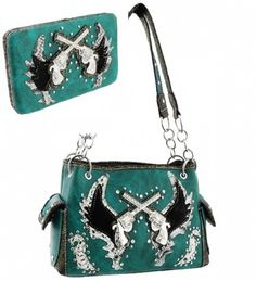 Turquoise Western Cross Guns and Wing Purse W Matching Wallet