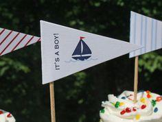 nautical baby shower cupcake flags