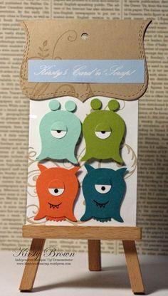 card idea, craft, owl punch, monster, owl card, punch art, owls, su owl, owl builder