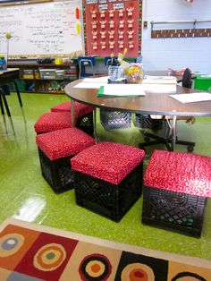 Reading Group Crates- cushion seat comes off to reveal white board, etc. storage!