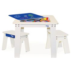 P'kolino Chalk Table and Benches Cobalt