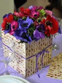 For the Passover Seder table. What a neat idea! I want to use real Matzah instead of Matzah paper - same consistency right?