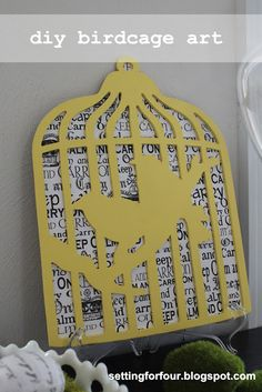 Easy DIY Birdcage Art from Setting for Four. #diy #art #birdcage