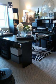 L-shaped black desk