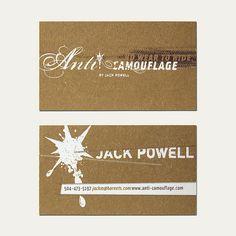 Anti Camo Business Card by Cranky Pressman | #Business #Card #letterpress #creative #paper #businesscard #corporate #design #visitenkarte #corporatedesign < repinned by an #advertising agency from #Hamburg / #Germany - www.BlickeDeeler.de | Follow us on www.facebook.com/Blickedeeler