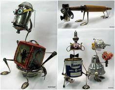 Recycled Art Sculptures #JunkBots, #MetalArt, #MixedMedia, #Recycled, #RecycledCrafts, #Reused, #Sculpture, #Vintage