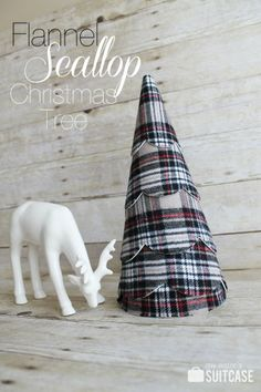 Flannel Scallop Tree tutorial at www,sisterssuitcaseblog.com #christmas #decor