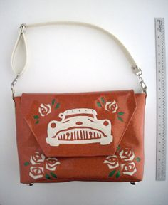 Metalflake  vinyl handbag copper with white old by spunbyver, $55.00