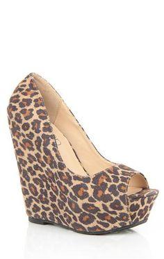 Deb Shops peep toe platform #wedge in #cheetah print $26.92