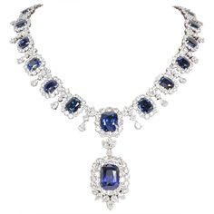 Incredible Cushion Cut GIA Ceylon Sapphire and Diamond Necklace. 75.50 carats of beautiful cushion cut Ceylon sapphire's.   17.48 carat cushion cut drop with GIA certificate.   45.13 carats of diamonds, all set in platinum.