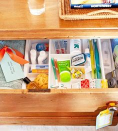 Guest room bedside drawer! Fill it w/ all the stuff your guests might need when visiting. ie toothbrush, advil, sudafed, lotion etc. guestroom, idea, guest bedrooms, guest gifts, bedroom makeovers, house guests, dresser drawers, guest rooms, guest bathrooms