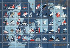 Denmark map stamps