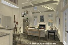 Country cottage with open floor plan layout