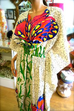 Beautiful Butterfly Caftan Dress at Vintage by Misty