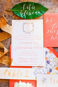 Stationery, Escort Cards, Table Number in a bright and cheery color palette