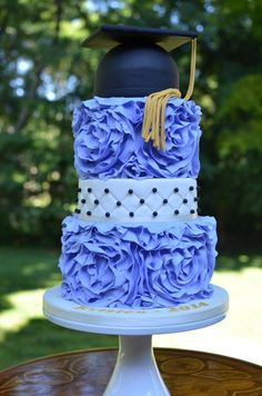 Ruffled Graduation Cake beauti cake, specialti cake, graduat cake, graduation cake