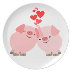 Cute Cartoon Pigs in Love Plate #melamine #plate #pigs #love #cute #kawaii #dinner #children #gifts #cheerfulmadness
