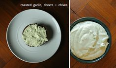 flavored cream cheese / 3 flavors.... salmon,dill & shallots... roasted garlic, chèvre & chive....berry & maple.