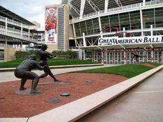 Entrance to the Cincinatti Reds  Ballpark Stadium; various statues of ball players as tour grounds.
