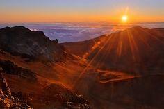 Haleakala volcano, Maui.  Watching the sunrise on the top of a volcano.