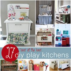 27 DIY Play Kitchens #kids #play #kitchens