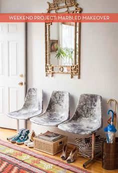 DIY Marbled Seating Makeover diy ideas, weekend projects, diy marbl