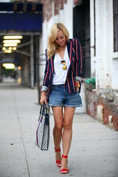 love the fun blazer and color popping heals