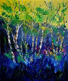 Birch trees, painting by artist ledent pol