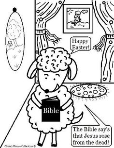 Easter Sheep with Bible Coloring Page For Sunday school -Jesus Rose from the dead, Happy Easter