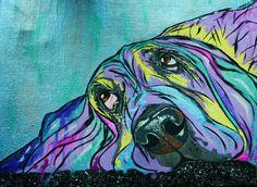 Custom pet portrait-pet portrait-Print-Basset Hound on Etsy, $35.00