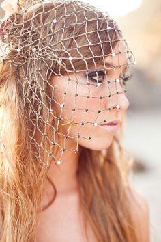Custom made Beach wedding fish Net Veil with pearls & seashells.  I'm IN LOVE with this idea. So romantic and unique! #beachwedding