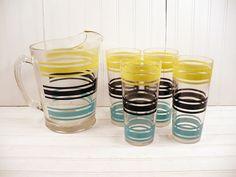 Vintage Striped Glass Ice Lip Pitcher Drinking Tumblers Set Aqua Yellow Black Retro