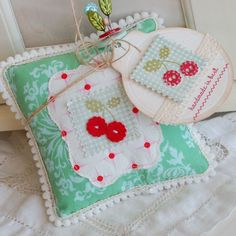 papertreyink cherry button pillow~pin cushion