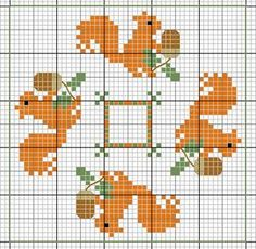 Cross-stitch Squirrel biscornu ... no color chart available, just use the pattern chart as your color guide.. or choose your own colors...