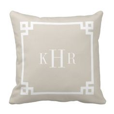 Linen Beige Greek Key Border Custom Monogram Pillow #Wedding #pillow