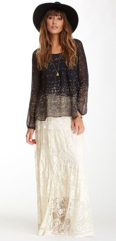 Blu Pepper Embroidered Lace Maxi Skirt