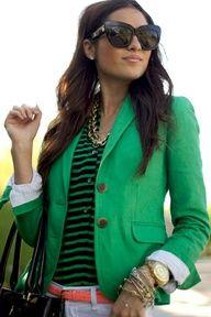 stripes + kelly green