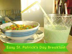 "Easy St Patricks Day breakfast - rainbow colored Trix and ""green"" milk #BreakfastSavings #CBias"