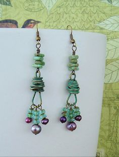 Boho Earrings Upcycled Brass and Turquoise Beaded by BohoStyleMe