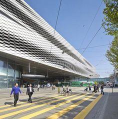Photographs by Hufton + Crow that show Herzog & de Meuron's extension to the Messe Basel exhibition centre