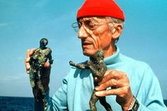 Jacques Cousteau with underwater sea mutants.