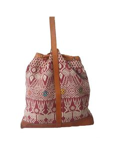 90s natural leather kilim tote by lesclodettes on Etsy, $45.00