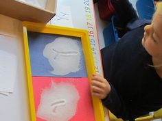 Great idea for preK and K for upper and lower case letter practice in salt trays letter, salt tray