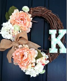 Personalized Floral Monogram Initial Wreath by PKNISKERN @ Etsy.
